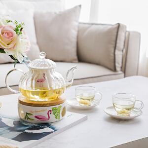奇居良品 ins风火烈鸟陶瓷骨瓷玻璃下午茶咖啡杯碟茶壶套装