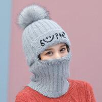冬季帽子女围脖一体连体帽韩版潮骑车防风针织毛线帽加厚包头护耳新品 均码有弹性