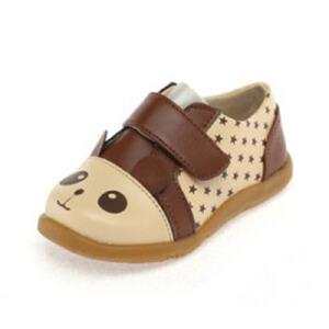 鞋柜卡通熊猫头魔术贴撞色男童鞋皮鞋