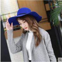 毛呢礼帽韩版时尚百搭毛呢帽子女大檐爵士帽英伦复古圆顶帽子