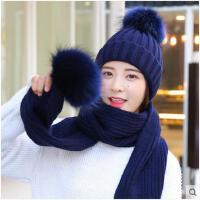 女冬季休闲百搭毛线帽韩版时尚加绒保暖针织帽子围巾两件套装