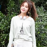 秋冬季新款女装秋装韩版宽松长袖T恤女百搭卡通印花外穿上衣服潮