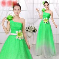 2016新款长裙绿色大合唱服结婚敬酒礼服主持人服装演出服女 绿色 M