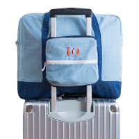 短途旅行包女可爱折叠拉杆箱挂包手提行李袋旅游清新双肩背包学生 鱼悦飞机包 (可折叠) 大