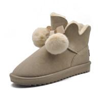 皮毛一体雪地靴女士短靴平底加厚加绒女靴厚底韩版防水学生鞋