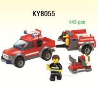 开智拼装拼插积木儿童益智玩具 消防救援车拖车皮卡KY8055