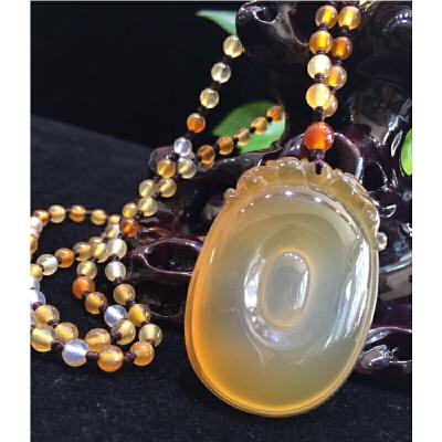 天然珠宝玉石玉髓精品手工雕刻福在眼前坠子配项链一套【TQYS2-(017)】