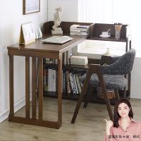 家逸  实木书桌书架组合现代简约转角写字台办公桌家用学习桌电脑台式桌