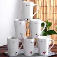 史努比卡通马克杯可爱简约水杯情侣陶瓷杯子创意个性带盖勺咖啡杯