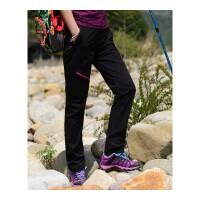 户外夏季薄款运动登山裤速干裤女士弹力修身透气长裤冲锋裤大码