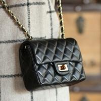 羊皮链条小香风欧美时尚菱格包单肩斜跨女包真皮小包包小方包经典