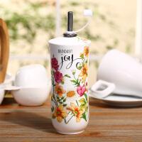 Evergreen爱屋格林创意厨房用品小件多用印花陶瓷油壶酱油瓶调味瓶