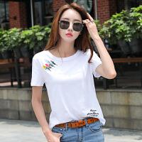 短袖女新款纯白半袖t恤女时尚显瘦夏上衣女士纯棉宽松体��衫