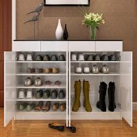 简约现代烤漆鞋柜实用多功能门厅玄关柜超大容量简易储物鞋柜 黑色1.6m四门1.2m高 组装