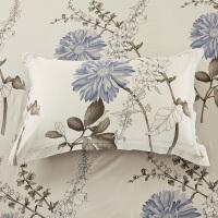 福存家居 全棉斜纹印花枕头套不含芯纯棉单人枕套 一对装 多花色可选