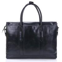 男士旅行包男包手提包行李包男头层牛皮日韩版商务电脑包 黑色