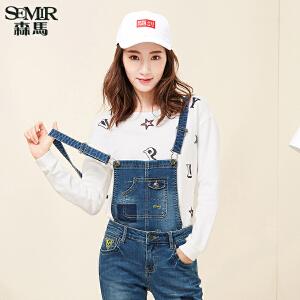 森马卫衣2017春装新款 女士针织时尚休闲圆领字母印花长袖T恤韩版