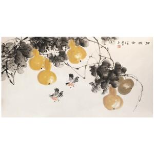 陈桂芳《福禄图》著名花鸟画家