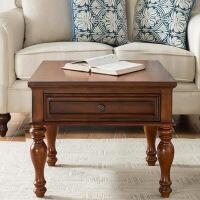 美式边几沙发边柜客厅角几边桌简约小茶几实木欧式电话桌床边几 带抽屉边几 樱桃色