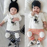 春秋婴儿套装全棉上衣+长裤可开档新生儿满月宝宝外出服弹力秋款