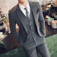 春季男士三件套英伦韩版修身发型师职业正装商务结婚西服礼服套装
