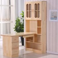 20190817170753337实木书桌书柜书架一体组合写字台学生转角电脑学习桌台式家用 +椅子