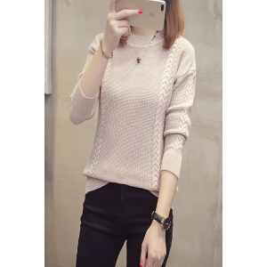 韩版圆领麻花纯色套头长袖针织衫2018秋装新款宽松舒适毛衣女上衣