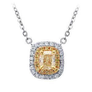梦 梵雅 钻石项链  黄钻项链 18K金彩黄钻项链豪华款一克拉效果送女友生日礼物