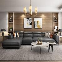 北欧沙发客厅组合后现代简约真皮沙发头层牛皮意式轻奢小户型 组合