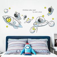 太空卡通墙贴卧室装饰布置墙壁贴画男孩儿童房间床头衣柜贴门贴纸