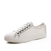 帆布鞋女 低帮系带平底chic小白鞋 学生韩版复古港风1992板鞋