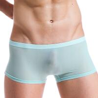 冰丝性感男士内裤平角裤夏季超薄一片式无痕青年透明四角裤头低腰 X