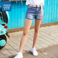 [限时秒杀:59.7元,满99-10元/满199-30元,仅限8.16-19]真维斯短裤女 2019夏装新款 女士弹力薄款中腰直筒牛仔裤休闲女裤