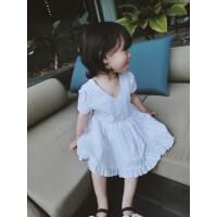 【抢】五一 女童欧美风V领短袖连衣裙 小波点大裙摆连衣裙