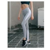 拼色速干中腰运动裤紧身健身裤女跑步训练弹力显瘦瑜伽裤显瘦外穿 浅灰色 浅灰拼白