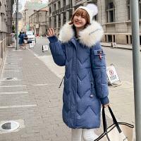 棉衣 女士长款毛领棉服2020冬季新款韩版女士休闲宽松派克服学生大码长款女装外套
