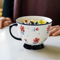 创意蓝莲花家居马克杯大容量手绘杯子水杯陶瓷可爱北欧燕麦早餐杯