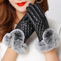 女士触摸屏学生骑行薄款户外防风手套加厚加棉保暖皮手套