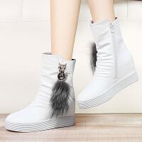 2017冬季新款加绒平底女靴中筒雪地靴子内增高短靴冬鞋青年女鞋子