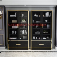 不锈钢烤漆书柜落地带门现代简约书架储物柜轻奢书柜组合 黑色(800*350*2000mm 长*宽*高) 0.6-0.8
