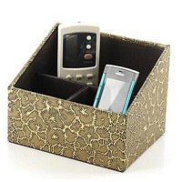 遥控器收纳盒三分格梯形遥控器 古铜色裂纹 多用途储物盒 化妆品杂物收纳盒 茶几收纳盒