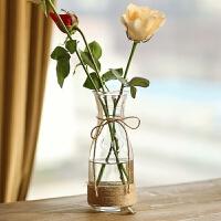 家居装饰摆件水培花器花盆创意花器彩色麻绳透明玻璃花瓶客厅餐桌