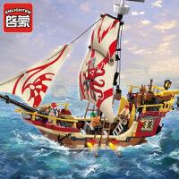 一号玩具 启蒙乐高式拼装积木玩具新品海盗船拼插小颗粒模型男孩玩具海盗系列