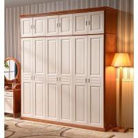 ��木衣柜地中海�L格家具橡木色衣柜中式衣柜雕花白色大衣柜加�柜