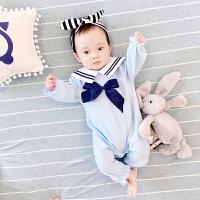 婴儿连体衣服宝宝新生儿2长袖5个月季7满月1岁睡衣棉冬季