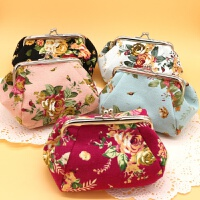 韩版 布艺玫瑰花 收纳小包 零钱包 女士化妆袋 时尚手拿小包包