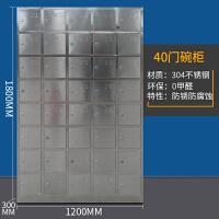 不锈钢办公室文件柜更衣柜员工储物资料柜多门药品浴室健身房矮柜 40门更衣-304不锈钢 0.8mm