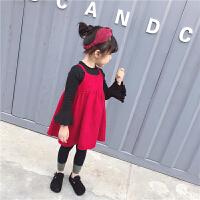 2018新款韩版春秋儿童灯芯绒吊带裙女童连衣裙子宝宝公主裙