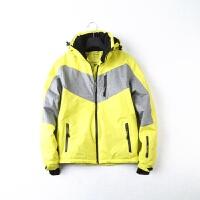 尾单冬季男士滑雪服上衣男宽松大码外套防风保暖可拆卸帽新品 黄色