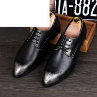 潮牌时尚男士布洛克雕花男鞋休闲英伦尖头皮鞋春秋季增高复古潮鞋子